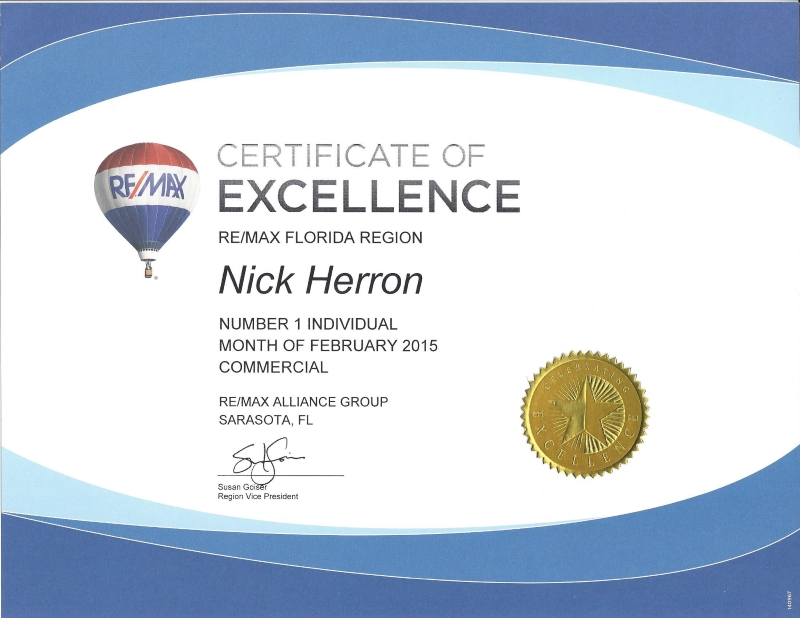 nick herron recieves remax certificate of excellence award feb 2015